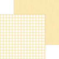 Doodlebug Design - Monochromatic Collection - 12 x 12 Double Sided Paper - Lemon Buffalo Check