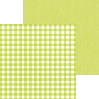 Doodlebug Design - Monochromatic Collection - 12 x 12 Double Sided Paper - Citrus Buffalo Check