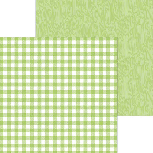 Doodlebug Design - Monochromatic Collection - 12 x 12 Double Sided Paper - Limeade Buffalo Check
