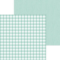 Doodlebug Design - Monochromatic Collection - 12 x 12 Double Sided Paper - Pistachio Buffalo Check