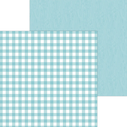 Doodlebug Design - Monochromatic Collection - 12 x 12 Double Sided Paper - Swimming Pool Buffalo Check
