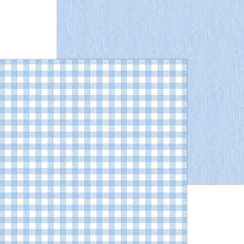 Doodlebug Design - Monochromatic Collection - 12 x 12 Double Sided Paper - Bubble Blue Buffalo Check