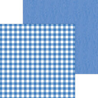 Doodlebug Design - Monochromatic Collection - 12 x 12 Double Sided Paper - Blue Jean Buffalo Check