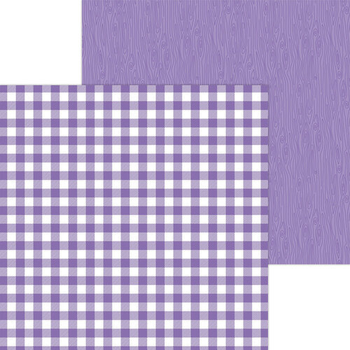 Doodlebug Design - Monochromatic Collection - 12 x 12 Double Sided Paper - Orchid Buffalo Check