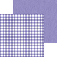 Doodlebug Design - Monochromatic Collection - 12 x 12 Double Sided Paper - Lilac Buffalo Check