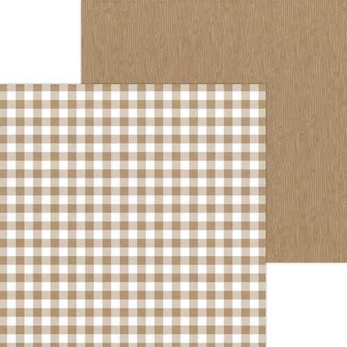 Doodlebug Design - Monochromatic Collection - 12 x 12 Double Sided Paper - Kraft Buffalo Check
