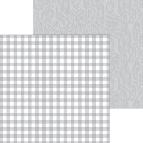 Doodlebug Design - Monochromatic Collection - 12 x 12 Double Sided Paper - Stone Gray Buffalo Check
