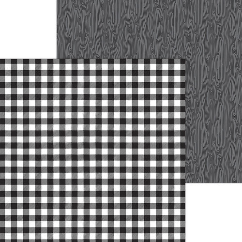 Doodlebug Design - Monochromatic Collection - 12 x 12 Double Sided Paper - Beetle Black Buffalo Check