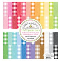 Doodlebug Design - Monochromatic Collection - 12 x 12 Paper Pack - Petite Prints - Buffalo Check and Wood Grain