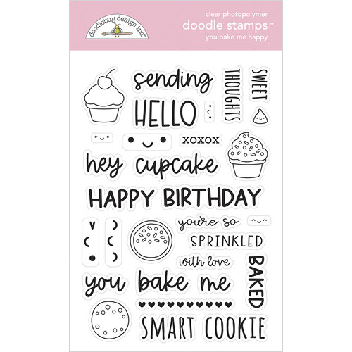 Doodlebug Design - Made With Love Collection - Clear Photopolymer Stamps - You Bake Me Happy