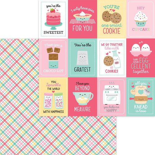 Doodlebug Design - Made With Love Collection - 12 x 12 Double Sided Paper - Cake Plaider