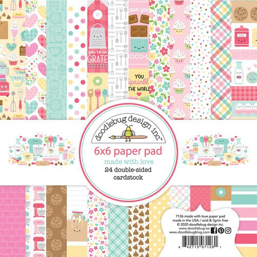 Doodlebug Design - Made With Love Collection - 6 x 6 Paper Pad