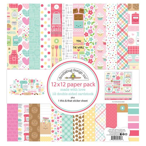 Doodlebug Design - Made With Love Collection - 12 x 12 Paper Pad