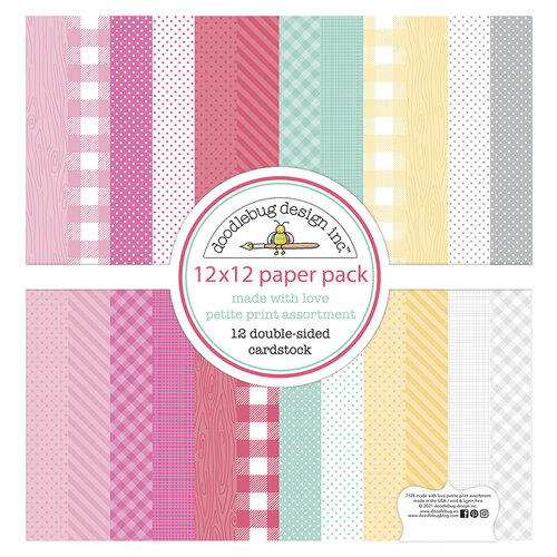 Doodlebug Design - Made With Love Collection - 12 x 12 Paper Pad- Petite Print