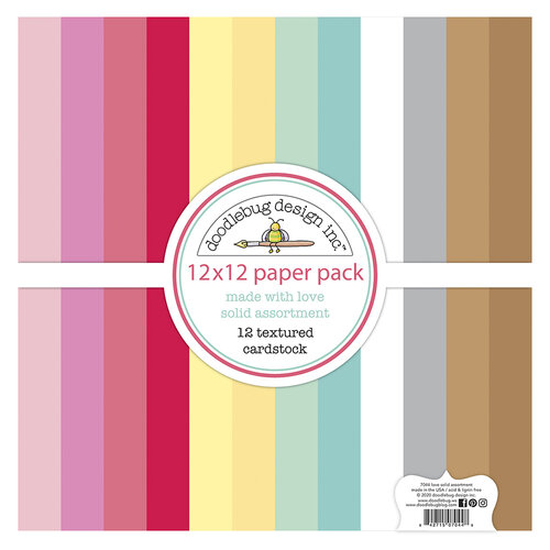 Doodlebug Design - Made With Love Collection - 12 x 12 Textured Cardstock Assortment Pack