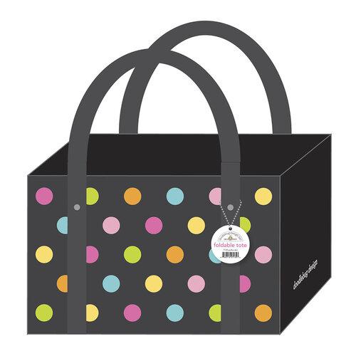 Doodlebug Design - Monochromatic Collection - Polka Dot Foldable Tote