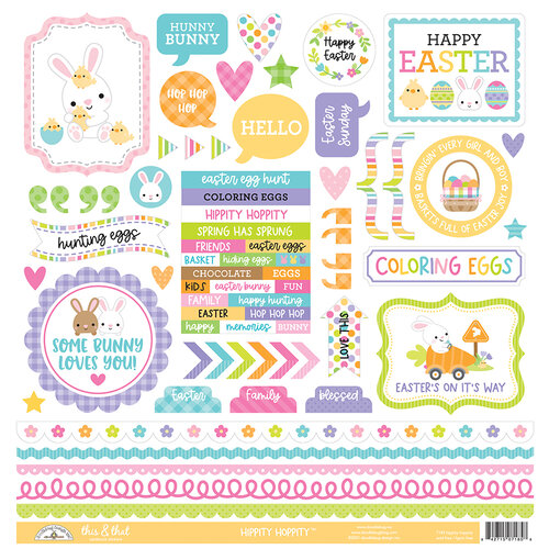 Doodlebug Design - Hippity Hoppity Collection - 12 x 12 Cardstock Stickers - This and That