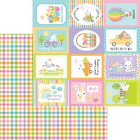 Doodlebug Design - Hippity Hoppity Collection - 12 x 12 Double Sided Paper - Easter Basket