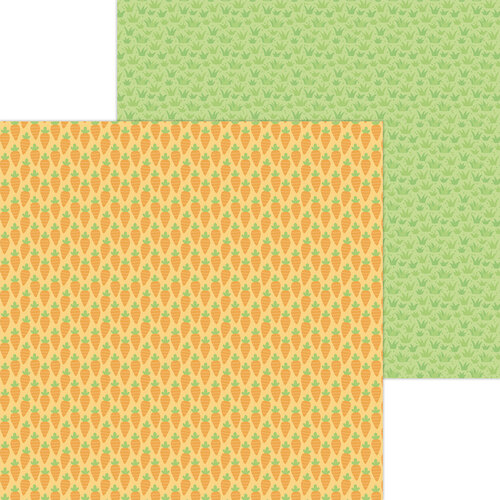 Doodlebug Design - Hippity Hoppity Collection - 12 x 12 Double Sided Paper - Baby Carrots