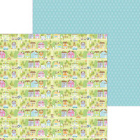 Doodlebug Design - Hippity Hoppity Collection - 12 x 12 Double Sided Paper - Bunny Town