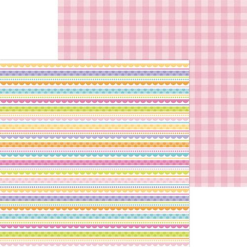 Doodlebug Design - Hippity Hoppity Collection - 12 x 12 Double Sided Paper - Easter Egg Stripe