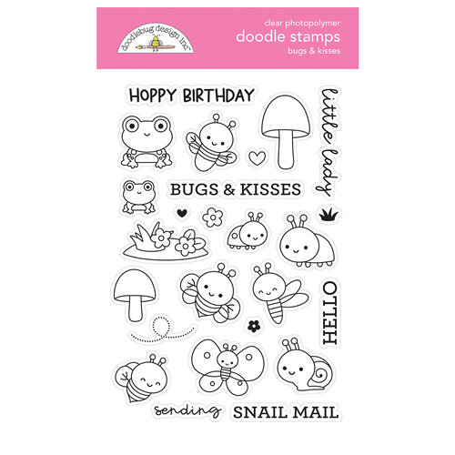 Doodlebug Design - Fairy Garden Collection - Clear Photopolymer Stamps - Bugs And Kisses