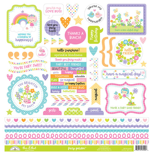 Doodlebug Design - Fairy Garden Collection - 12 x 12 Cardstock Stickers - This and That