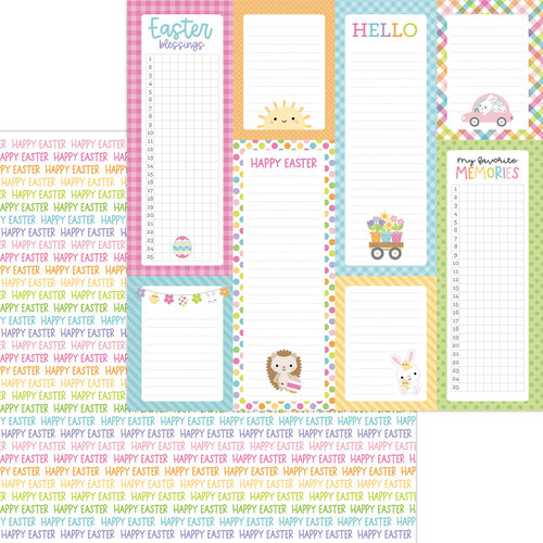 Doodlebug Design - Hippity Hoppity Collection - 12 x 12 Double Sided Paper - Happy Easter