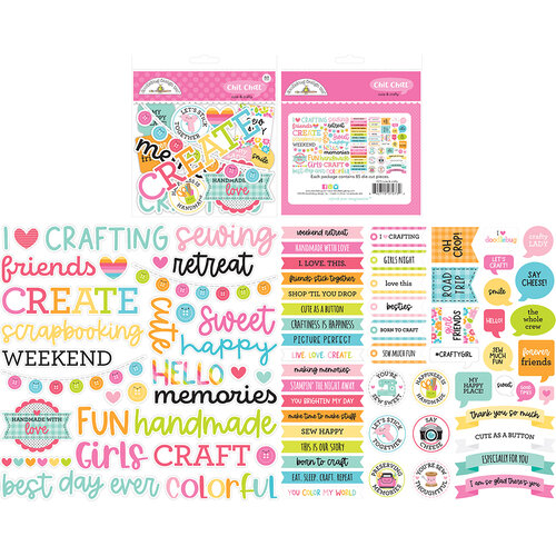 Doodlebug Design - Cute and Crafty Collection - Chit Chat - Die Cut Cardstock Pieces