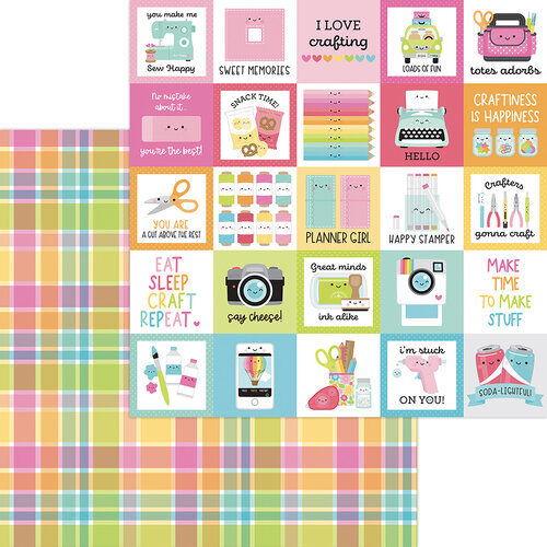 Doodlebug Design - Cute and Crafty Collection - 12 x 12 Double Sided Paper - Perfectly Plaid