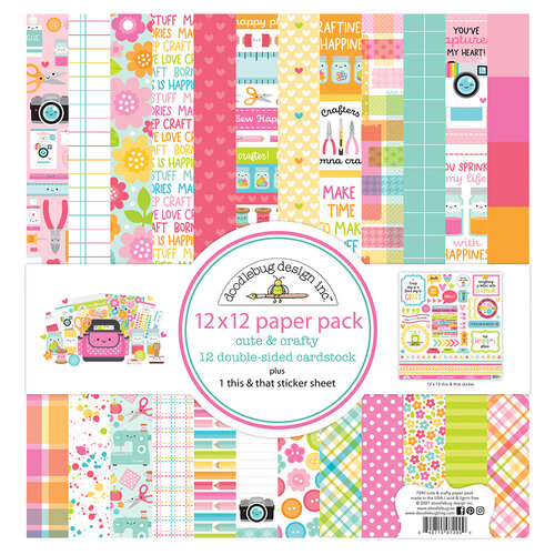 Doodlebug Design - Cute and Crafty Collection - 12 x 12 Paper Pack