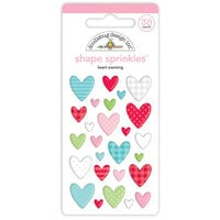 Doodlebug Design - Let It Snow Collection - Sprinkles - Self Adhesive Enamel Shapes - Heart Warming Shape