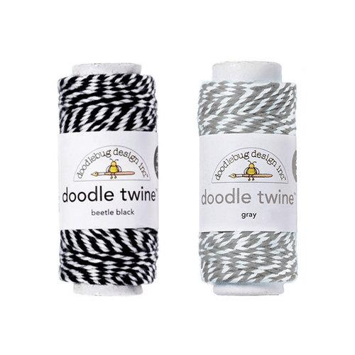 Doodlebug Design - Doodle Twine - Black and Gray - 2 Pack Set