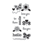 Doodlebug Design - Hampton Art - Unmounted Rubber Stamps - Flower Garden
