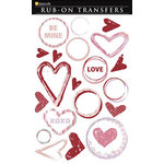 Daisy D's Paper Company - Valentine's Day Collection - Rub-On Transfers - Painted Hearts, CLEARANCE