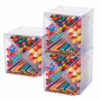 Deflecto - Stackable X Divided Clear Storage Organizer - 6 x 6 - 3 Pack Set
