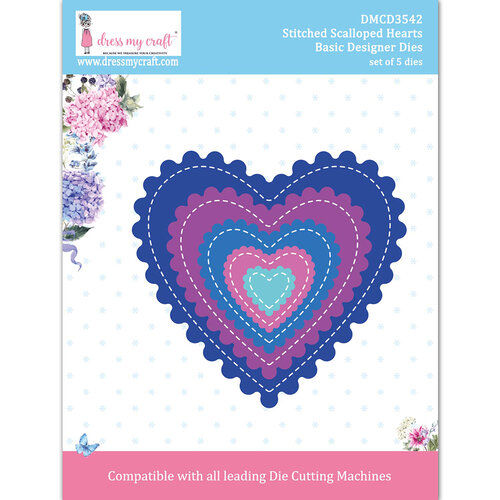Dress My Craft - Dies - Stitched Scalloped Hearts