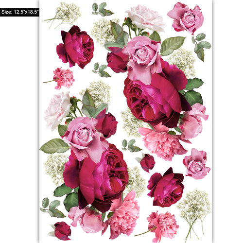 Dress My Craft - Transfer Me - Roses With Baby Breath