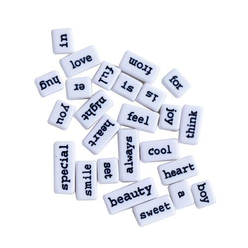 Dress My Craft - Sentiment Tiles - White