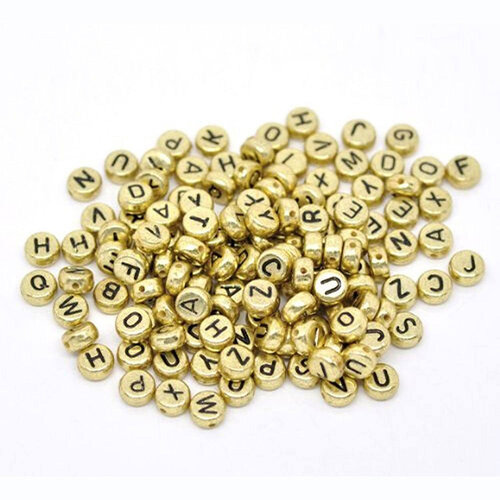 Dress My Craft - Letter Beads - Golden Round