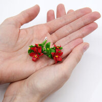Dress My Craft - Miniature Flower Embellishments - Poinsettia Bunch - Red