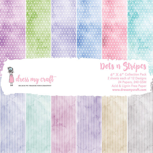 Dress My Craft - 6 x 6 Paper Pad - Dots n Stripes