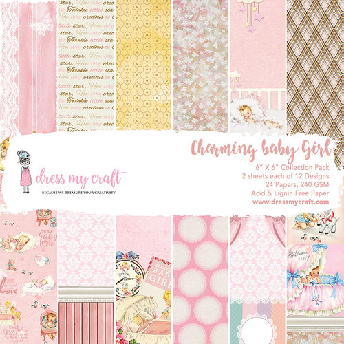 Dress My Craft - 6 x 6 Paper Pad - Charming Baby Girl