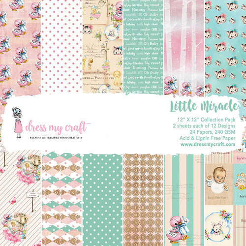 Dress My Craft - 12 x 12 Paper Pad - Little Miracle