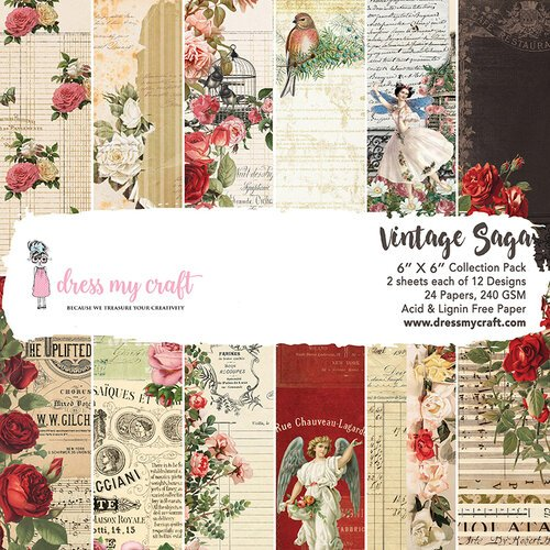 Dress My Craft - 6 x 6 Paper Pad - Vintage Saga
