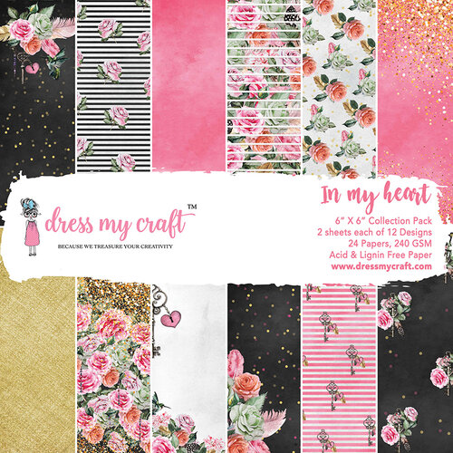 Dress My Craft - 6 x 6 Paper Pad - In My Heart