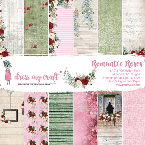 Dress My Craft - Romantic Roses Collection - 6 x 6 Paper Pad