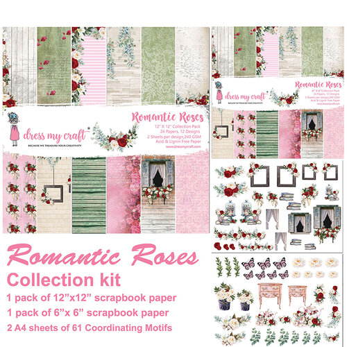 Dress My Craft - Romantic Roses Collection - 12 x 12 Collection Kit