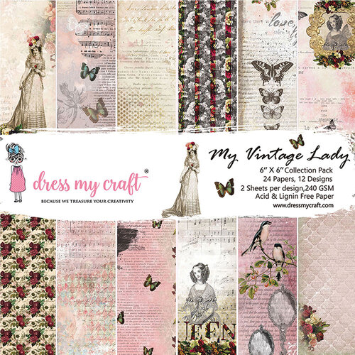 Dress My Craft - My Vintage Lady Collection - 6 x 6 Paper Pad
