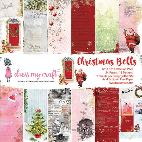Dress My Craft - Christmas Bells Collection - 12 x 12 Paper Pad